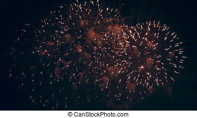 Lots of winking fireworks are shooted continuously. -...