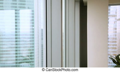 Happy confident businessman coming to window, enjoying big...