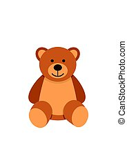 Teddy bear character isolated on white background. Soft toy...