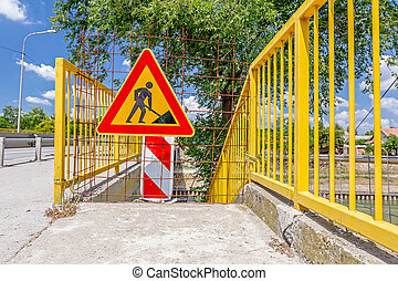 Pedestrian zone, street is closed with triangle sign for...