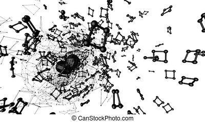 Abstract black and white waving 3D grid or mesh of pulsating geometric objects. Use as abstract chemical environment. Geometric vibrating environment or pulsating math or chemical background.