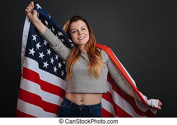 Patriotisch, aufrichtig, Gefühl, begeisternd, frau