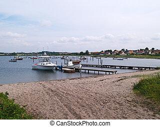 hermoso, pescadores, aldea, Dinamarca