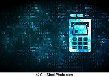 Currency concept: ATM Machine on digital background