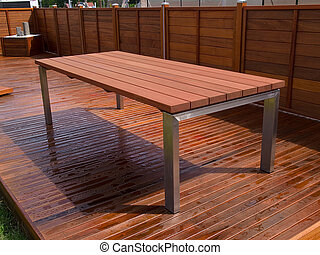 Beautiful mahogany hardwood deck floor and table - Beautiful...