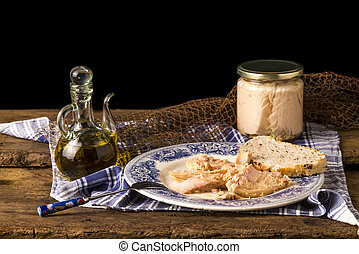 Albacore canned in glass jar.