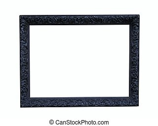 Black Wood Frame - Isolated and intricate carved black frame