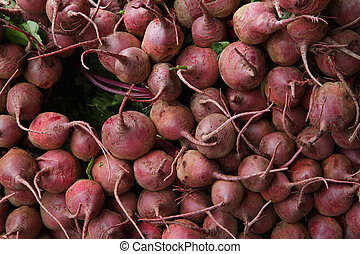 Pile of red beets at the farmers market