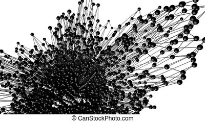 Abstract black and white waving 3D grid or mesh of pulsating...