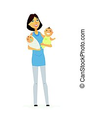 Family - colored modern flat illustration composition. -...