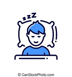 Sleep - modern vector single line icon. An image of a person...