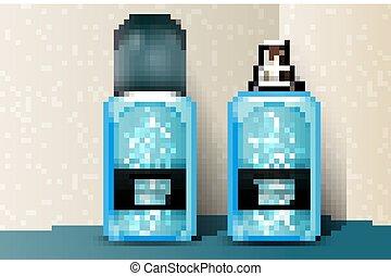 Blue plastic perfume bottles