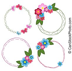 Set of Round Doodle Hand Drawn Frames with Flowers