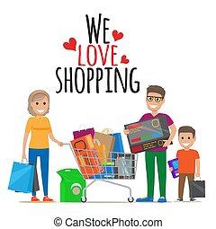 We Love Shopping. Family Shopping Illustration