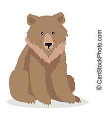 Brown Bear Cartoon illustration in Flat Design - Brown bear...