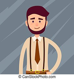 Bearded Cartoon Character Cropped Illustration - Young male...