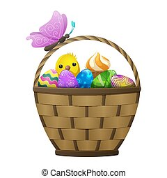 Basket with Easter Eggs, Chiken and Butterfly - Wicker...