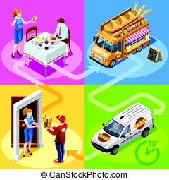 Food Truck Bakery Bread Home Delivery Vector Isometric People