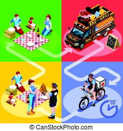Food Truck BBQ Grill Home Delivery Vector Isometric People