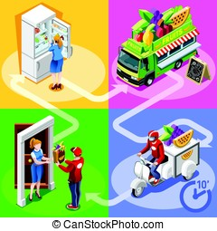 Food Truck Fruit Cart Home Delivery Vector Isometric People