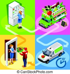 Food Truck Greengrocer Vegetable Home Delivery Vector Isometric