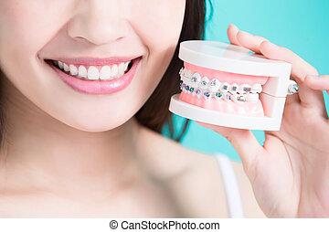 婦女, 錯誤, 拿, 牙齒