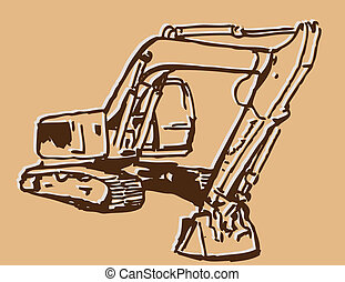 Excavator Sketch - An image of an excavator sketch.