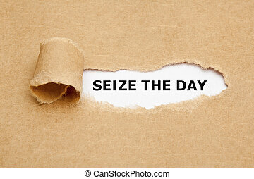 Seize The Day - Text Seize The Day appearing behind torn...