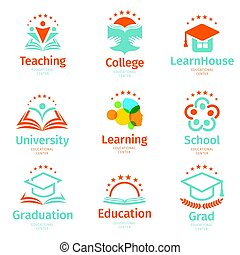 Isolated abstract colorful education and learn logo set,...