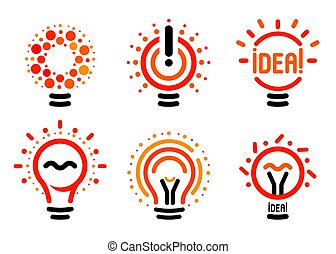 Stylized set of vector lightbulbs with line, dots, beam. New idea symbols collection colorful logotypes. Flat abstract bright cartoon bulbs. White, black, orange colors sign. Idea icon, circle logo