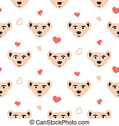 Cute bear pink fun seamless pattern for kids and babies.