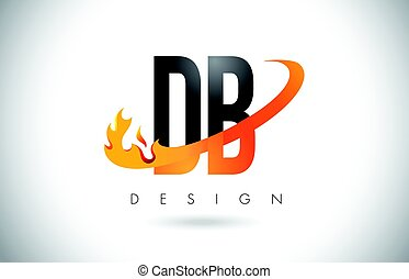 DB D B Letter Logo with Fire Flames Design and Orange...