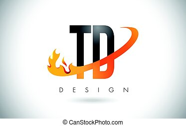 TD T D Letter Logo with Fire Flames Design and Orange...