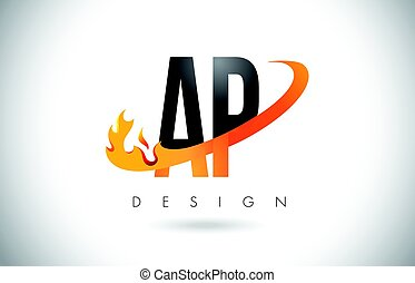 AP A P Letter Logo with Fire Flames Design and Orange...