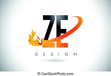 ZE Z E Letter Logo with Fire Flames Design and Orange...