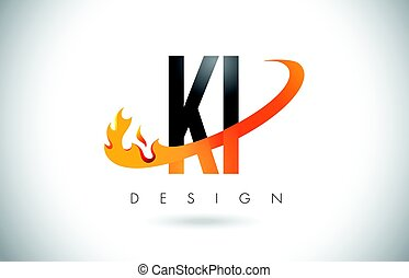 KI K I Letter Logo with Fire Flames Design and Orange...