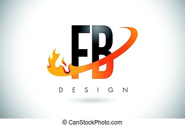 FB F B Letter Logo with Fire Flames Design and Orange...