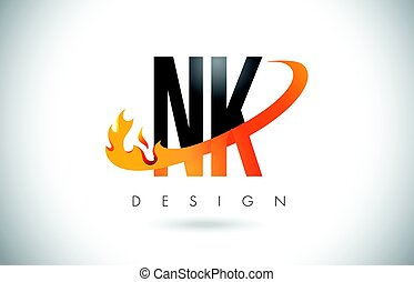 NK N K Letter Logo with Fire Flames Design and Orange...