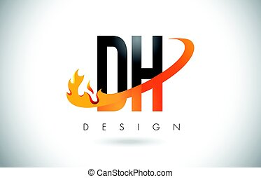 DH D H Letter Logo with Fire Flames Design and Orange...