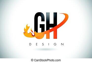 Llamas, G, fuego, H, diseño, carta, naranja, logotipo,...