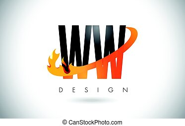 WW W Letter Logo with Fire Flames Design and Orange Swoosh....