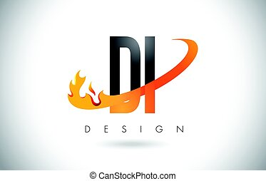DI D I Letter Logo with Fire Flames Design and Orange...
