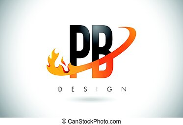 PB P B Letter Logo with Fire Flames Design and Orange...