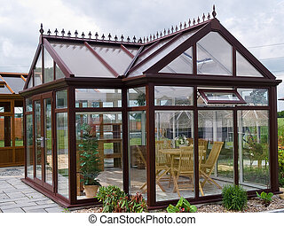 Beautiful  garden wood glass pavilion with furniture