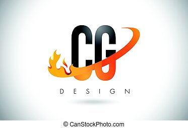 CG C G Letter Logo with Fire Flames Design and Orange...