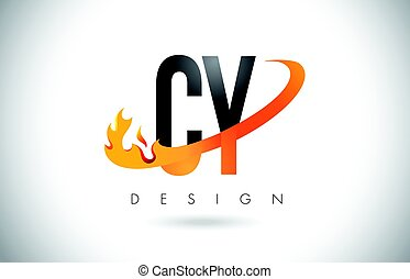 CY C Y Letter Logo with Fire Flames Design and Orange...