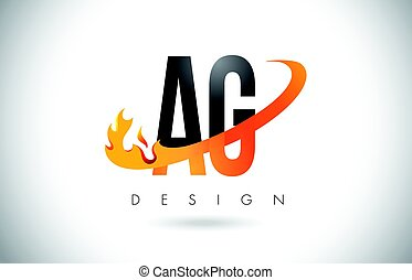 AG A G Letter Logo with Fire Flames Design and Orange...