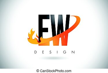 EW E W Letter Logo with Fire Flames Design and Orange...