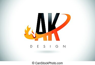 AK A K Letter Logo with Fire Flames Design and Orange...
