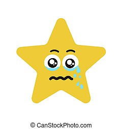 Emotional face star cry - Emotional star cry. Vector...